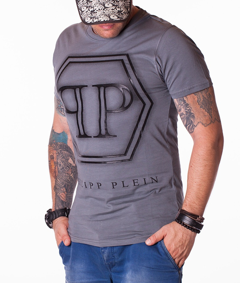 philipp plein pp logo tricou gri inchis 1501 tricouri cu guler rotund tricouri brande. Black Bedroom Furniture Sets. Home Design Ideas